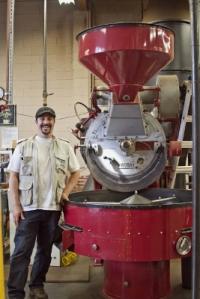Dismas with the Probat roaster