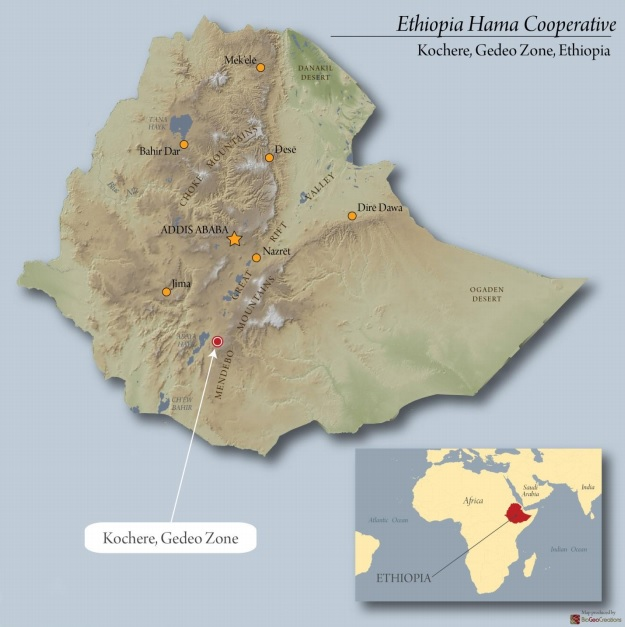 Ethiopia Hama Cooperative map Caffe Ladro